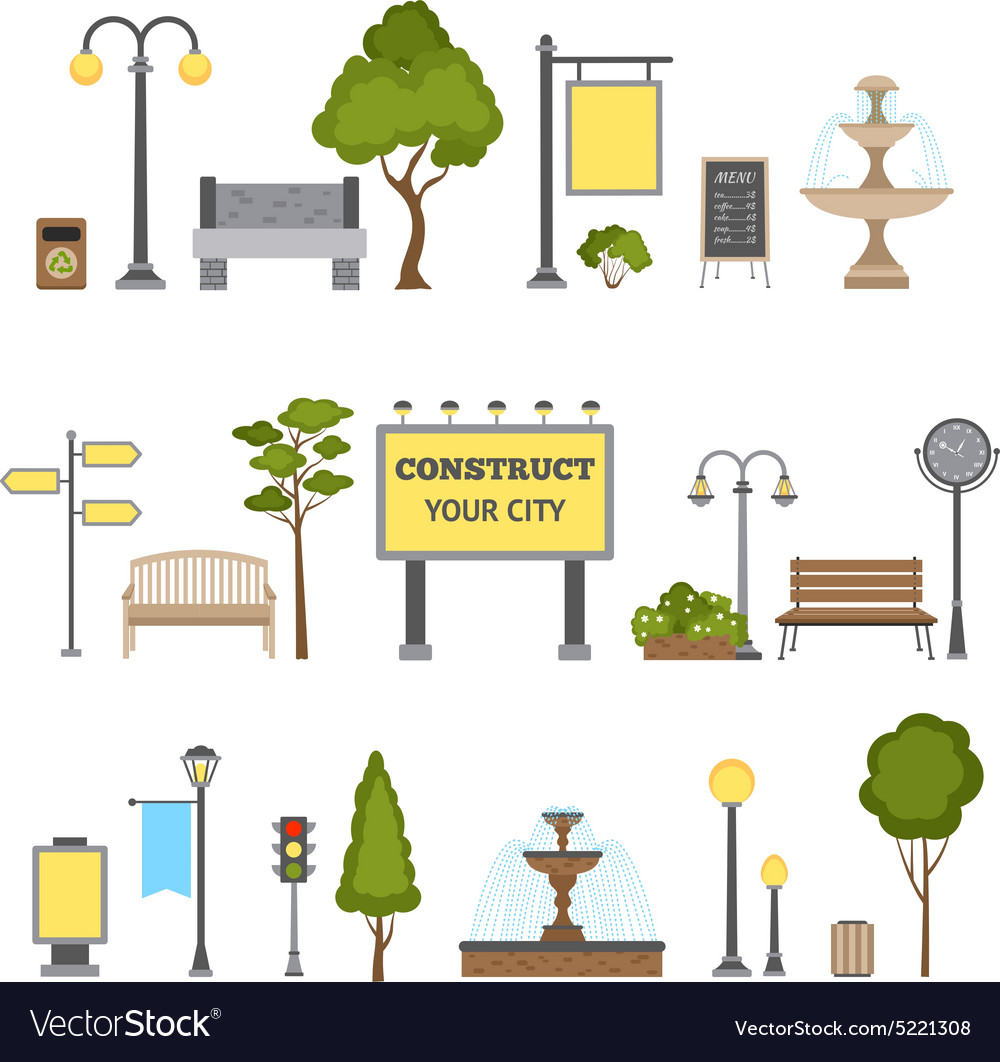 Outdoor object set vector