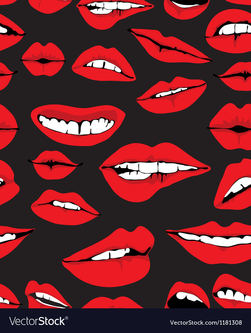 Seamless lips background vector