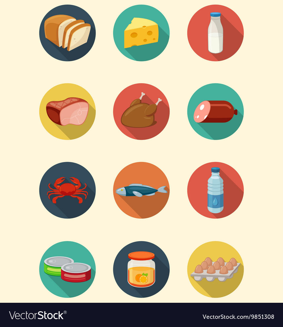 Set of food and products icons flat design icons vector