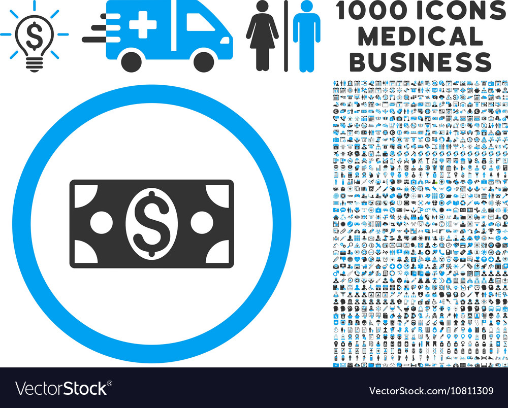 Dollar banknote icon with 1000 medical business vector