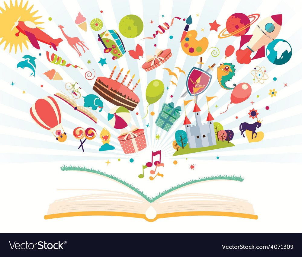 Imagination concept open book with objects flying vector