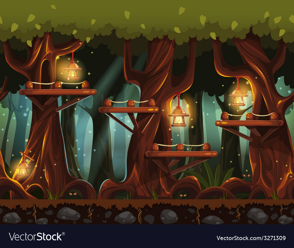 Seamless background fabulous night forest with vector