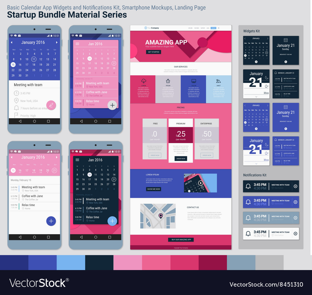 Startup bundle material series mobile app ui and vector
