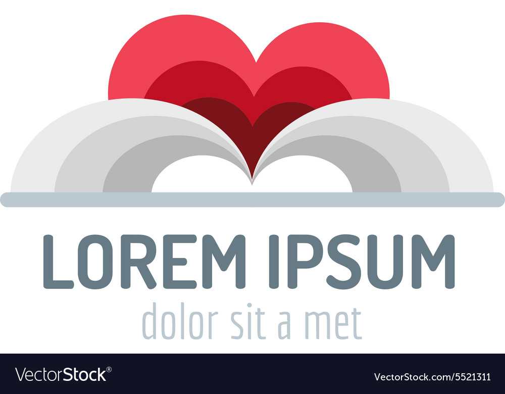 Book heart template logo icon back to school vector