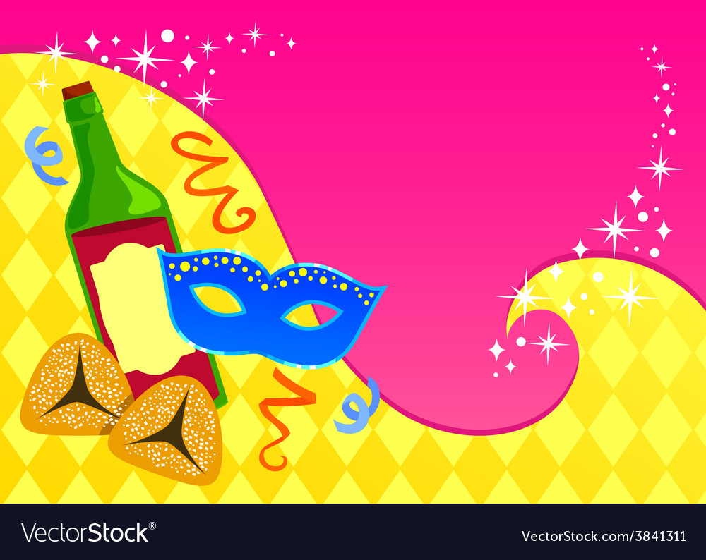 Purim card template vector