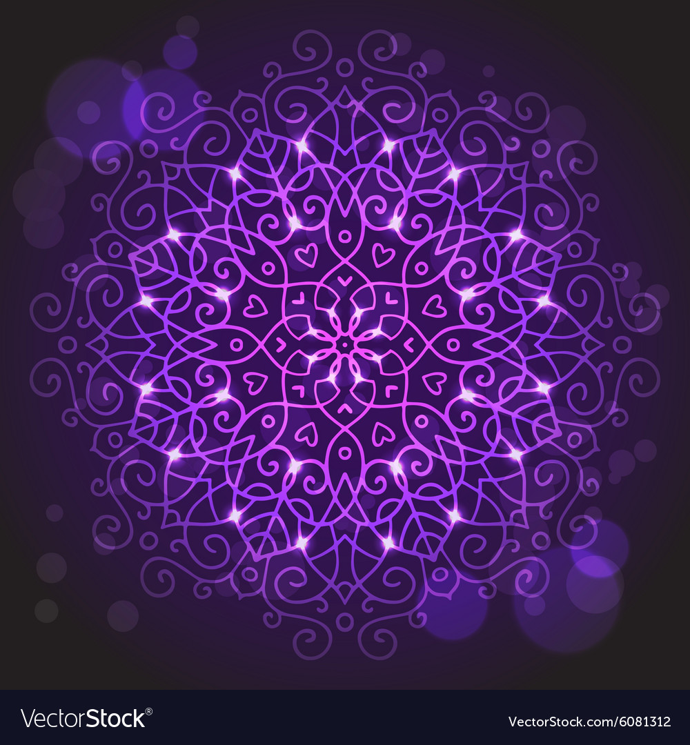 Abstract purple background with a round mandala vector