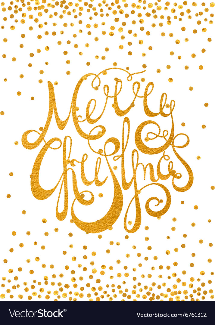 Gold calligraphic inscription merry christmas vector