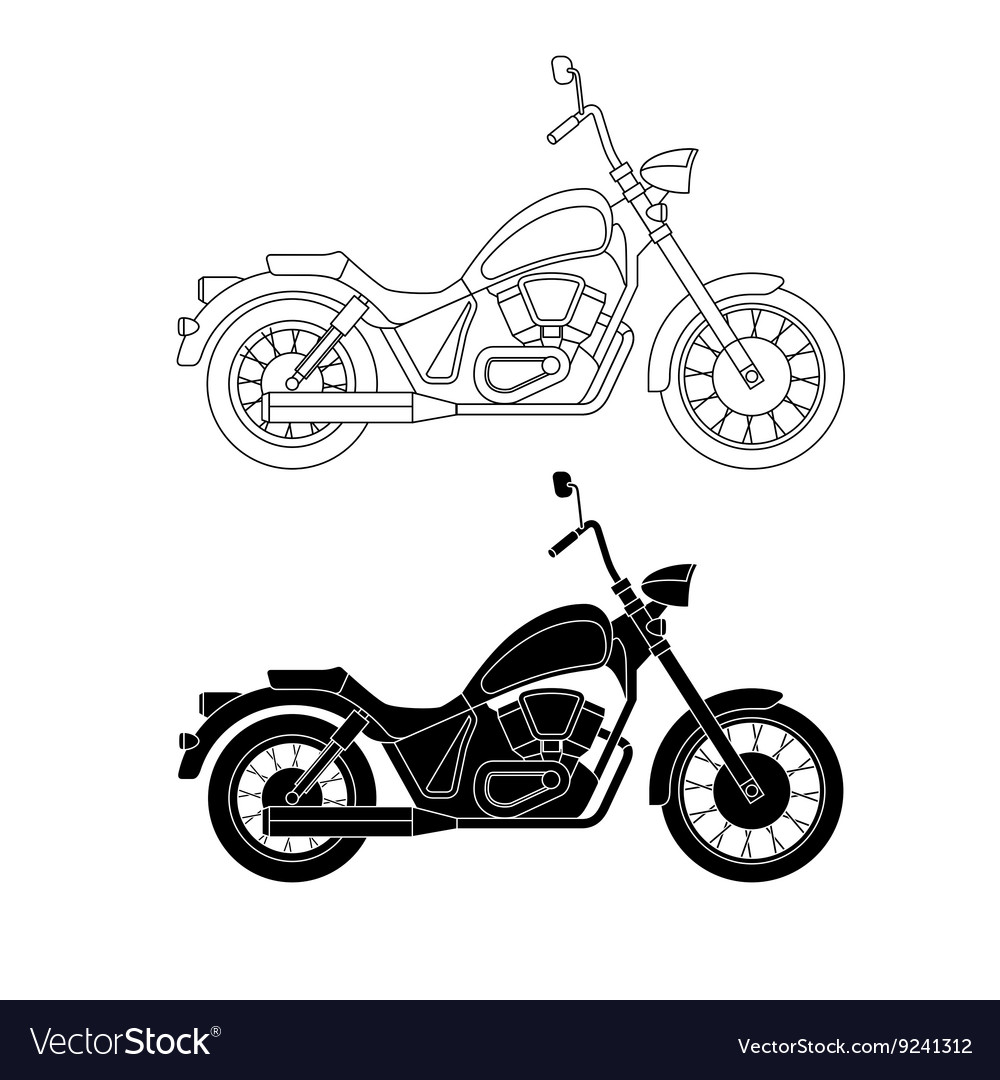 Line chopper motorcycles vector