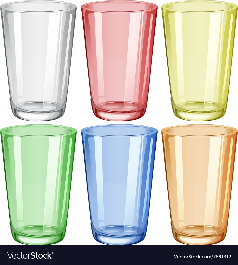 Water glass in six different colors vector