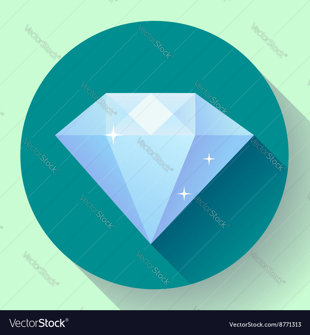 Diamond icon flat design with long shadow vector