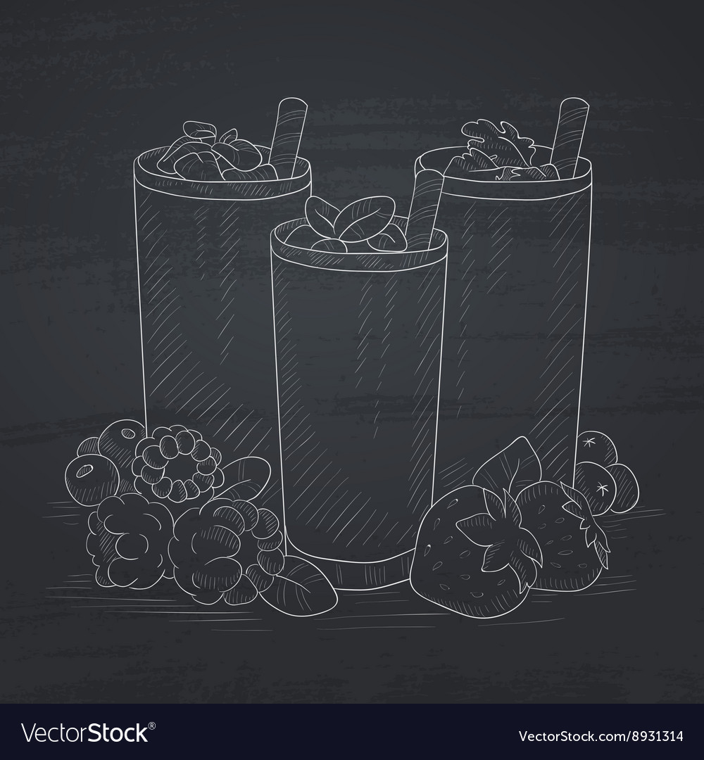 Fresh berries smoothies vector