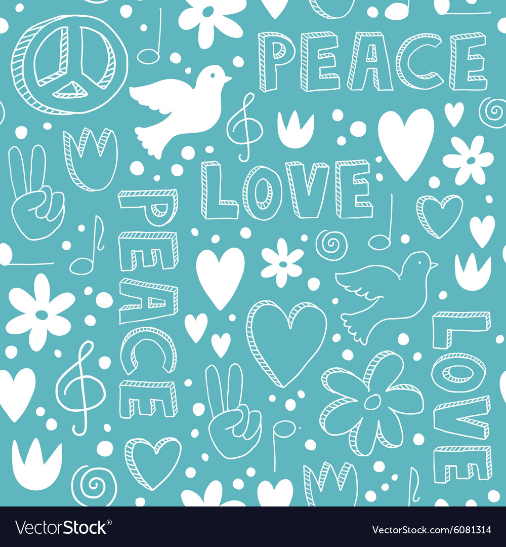 Handdrawn seamless pattern with symbols of peace vector