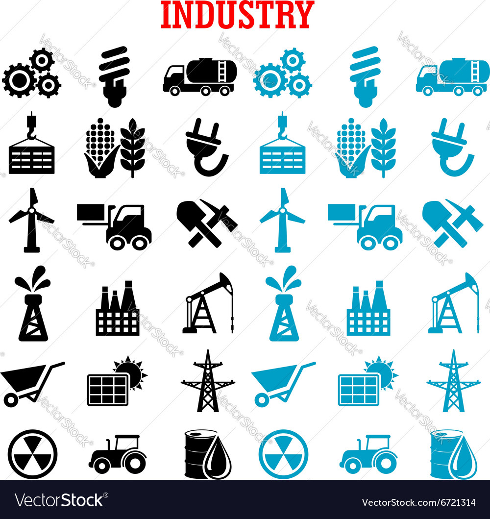 Industrial and energy flat icons set vector