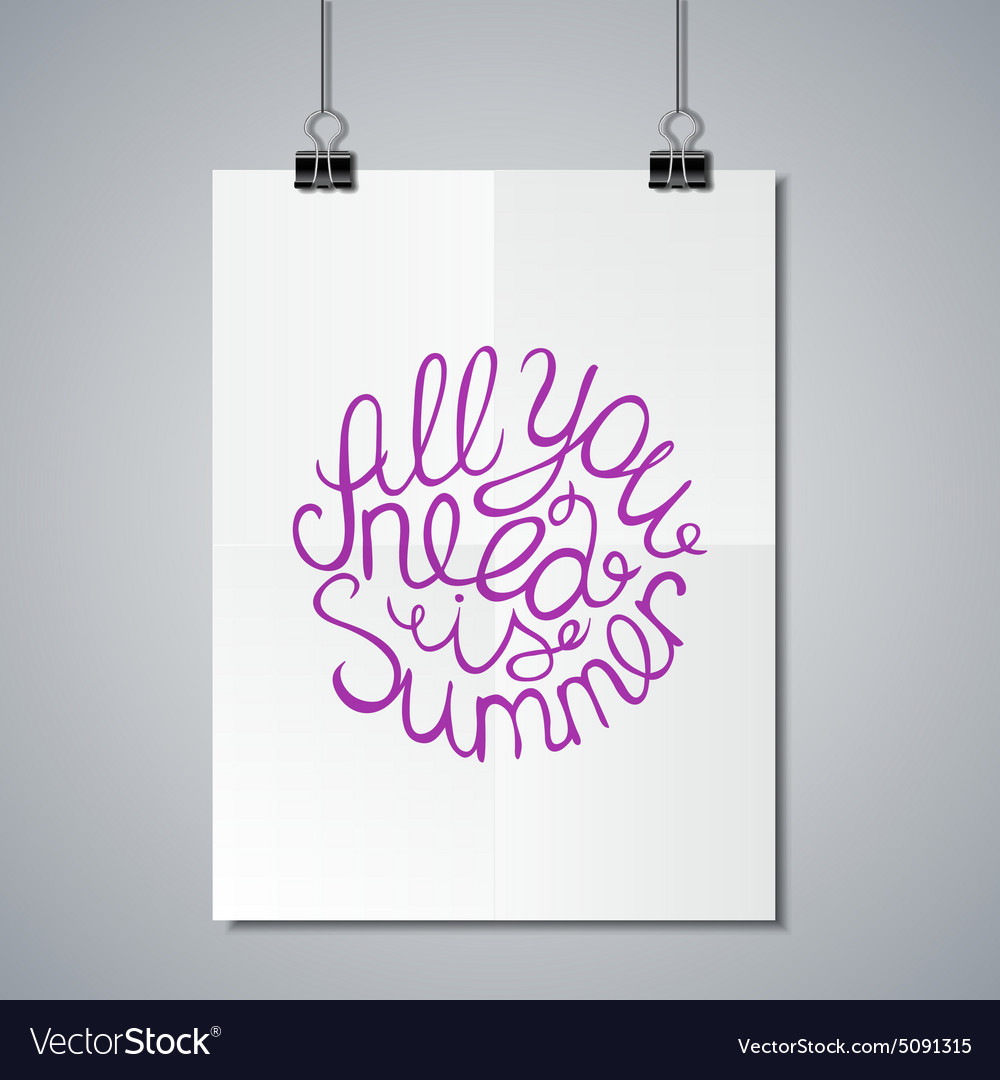 Poster mockup template with lettering element vector