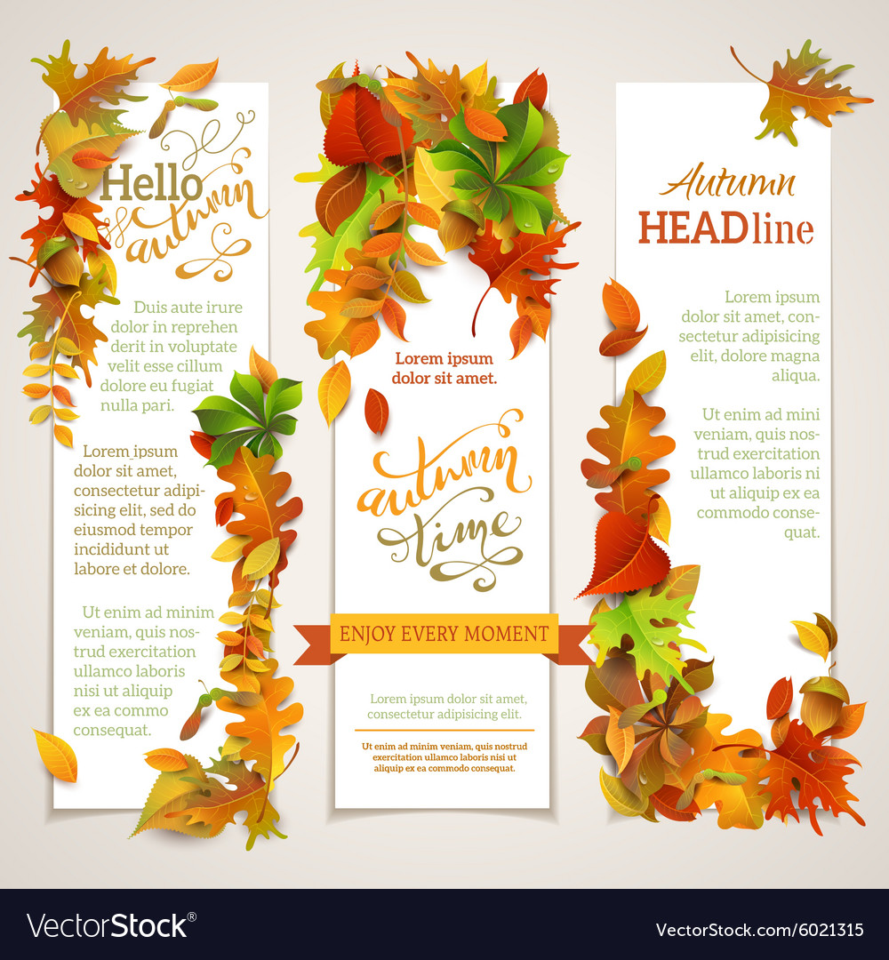 Set of vertical autumn banners vector