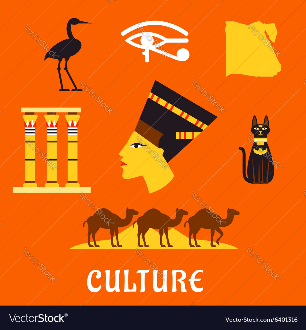 Ancient egypt travel and culture flat icons vector