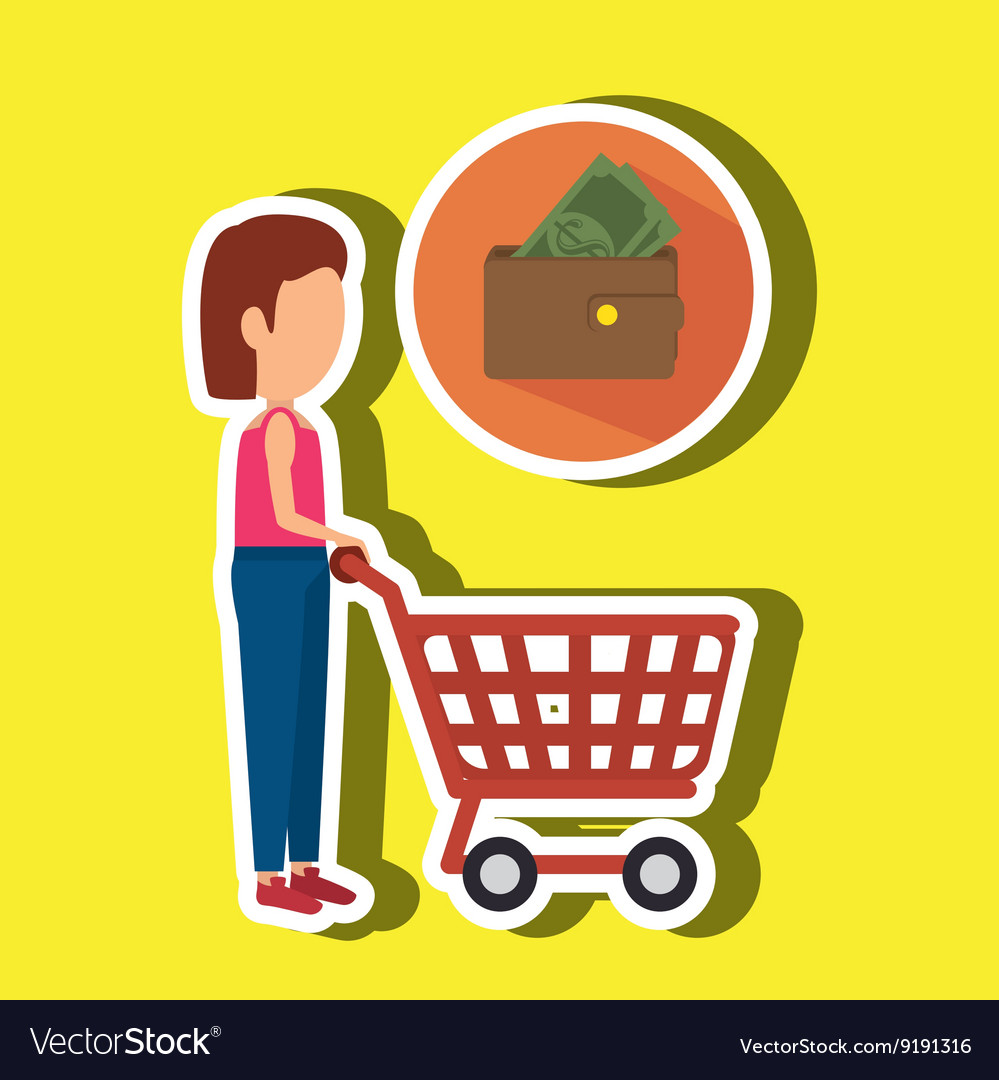 Woman shopping design vector
