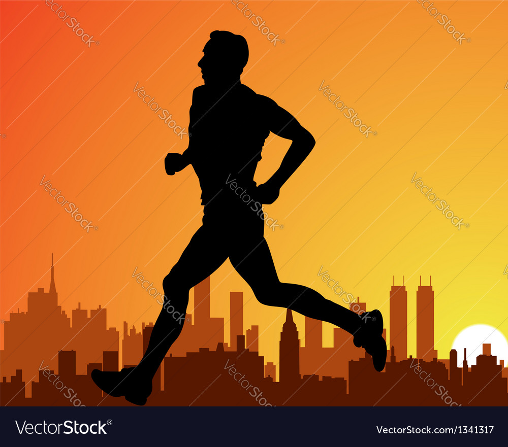 City and a running man vector