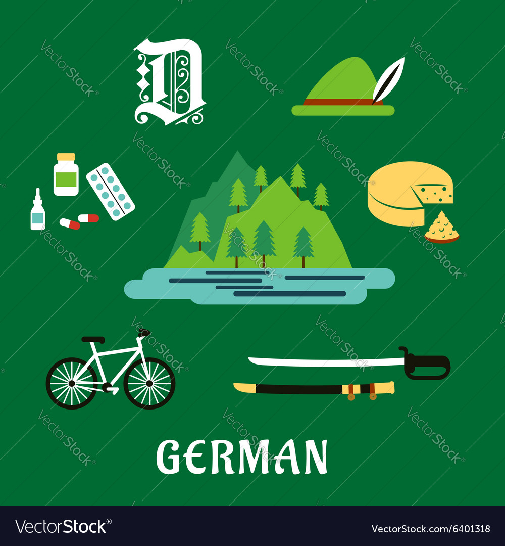 German culture and history flat icons vector