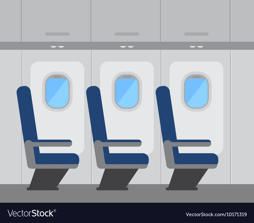 Aircraft interior with windows and seats vector