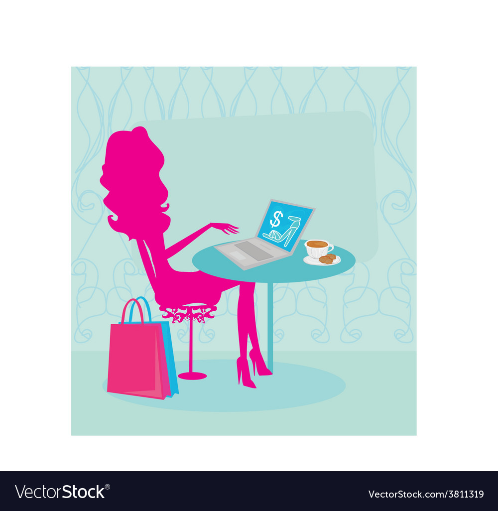 Online shopping  young smiling woman sitting with vector