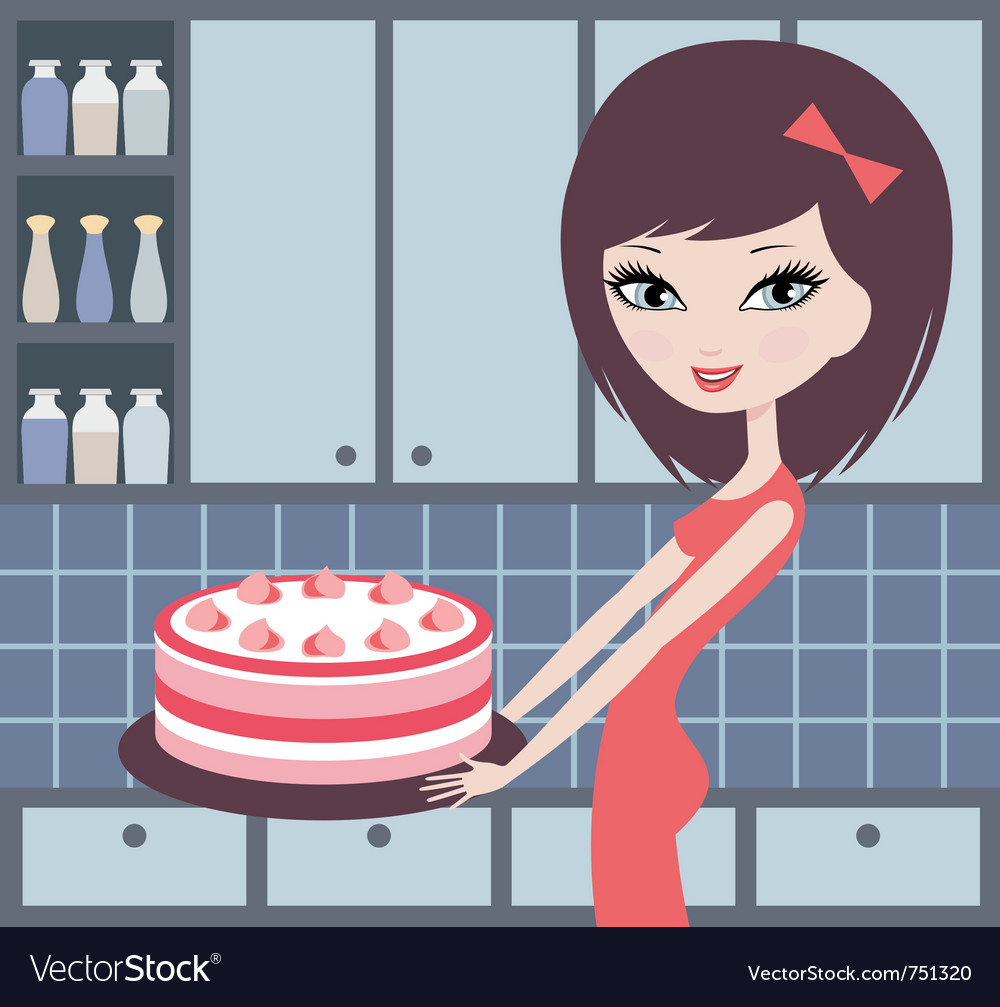 Pretty girl holds a pie vector