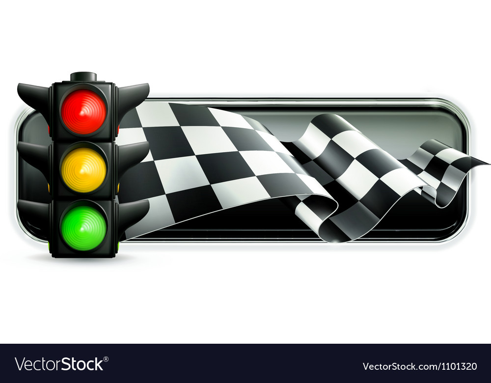 Racing banner with traffic lights vector