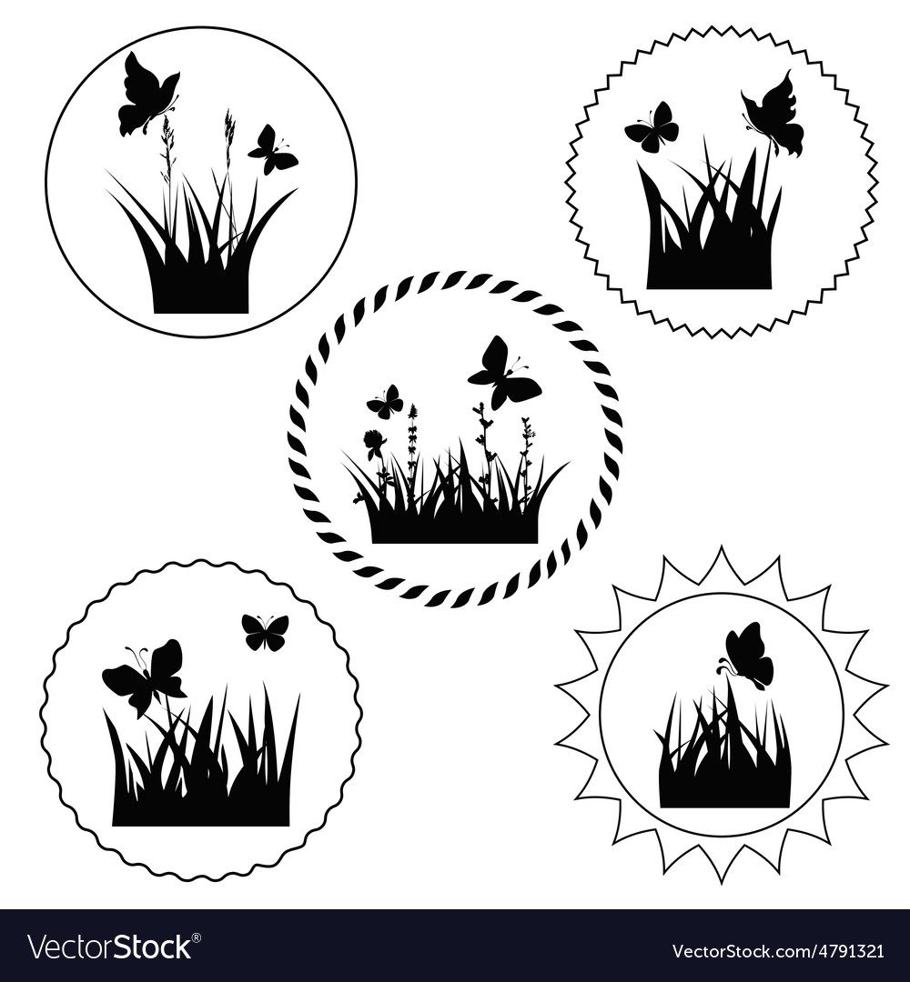 Grass label vector