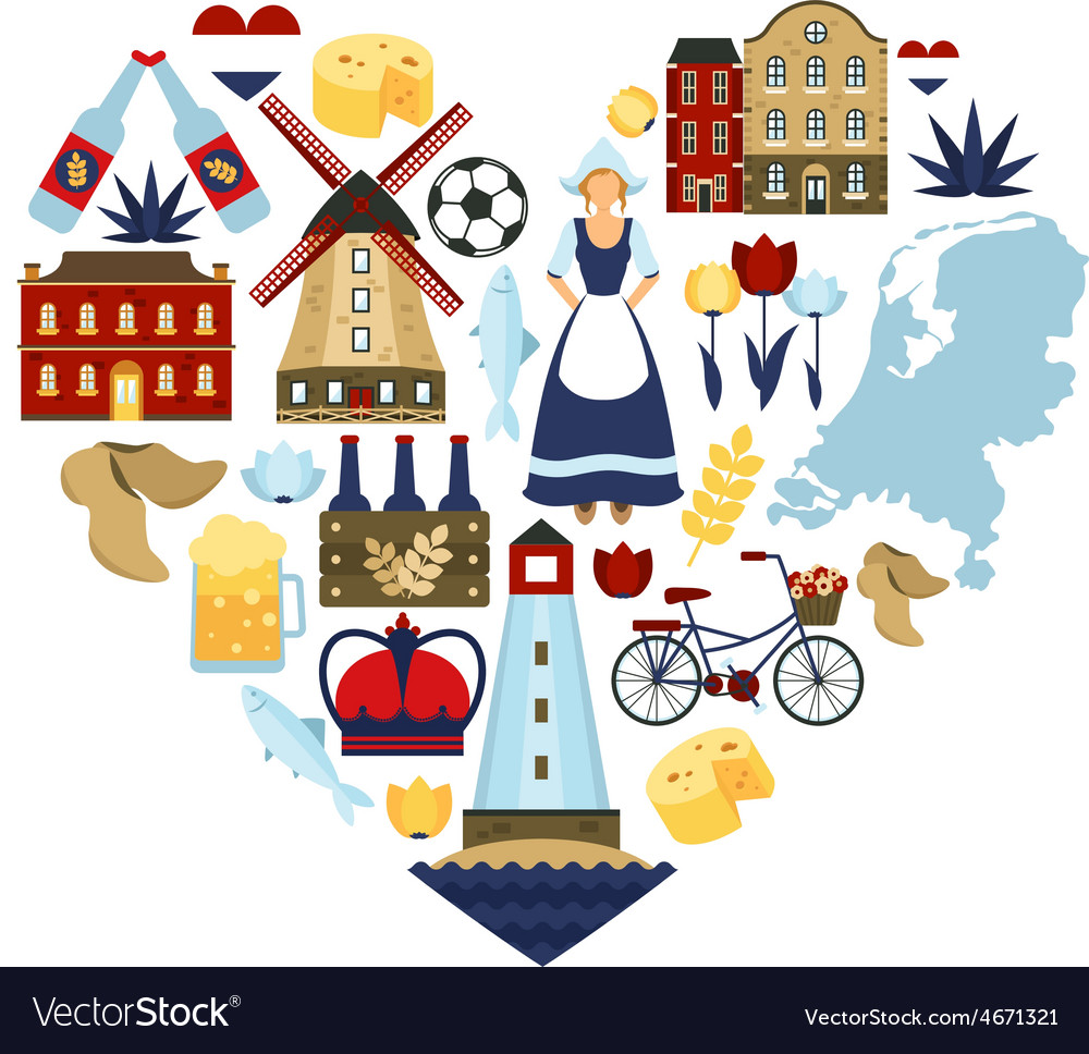 Netherlands heart concept vector