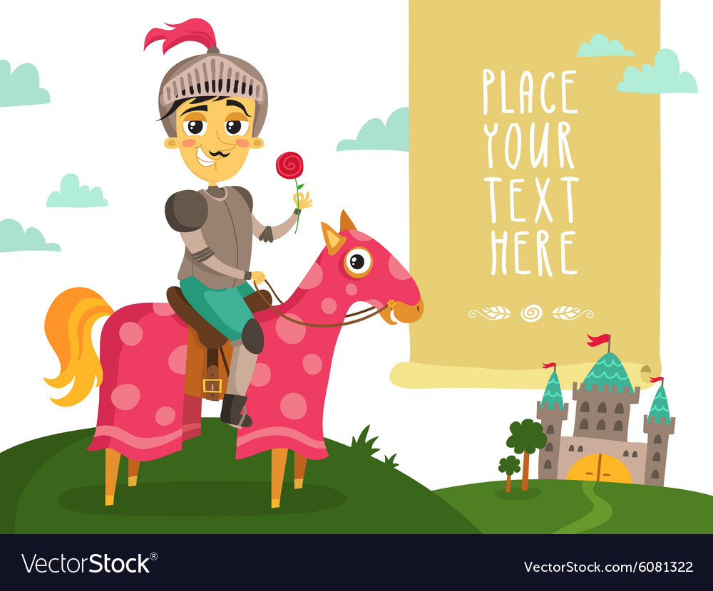 Funny knight on a horse with a flower vector