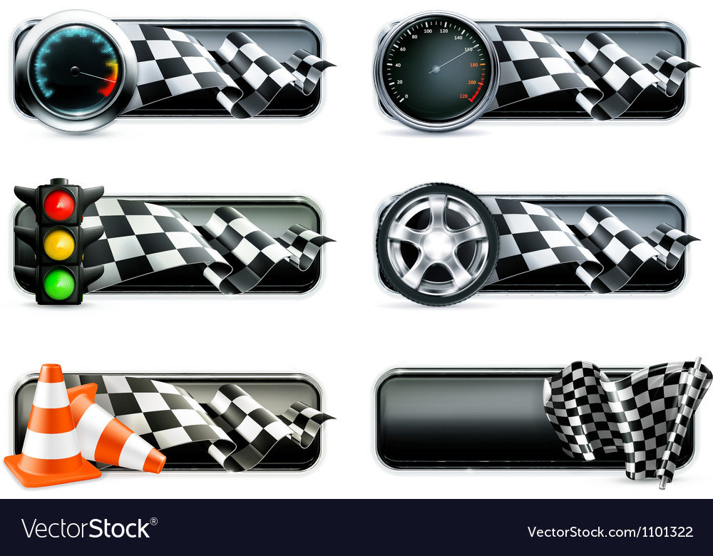 Racing banners set vector