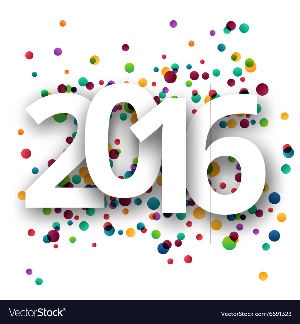 Happy new year 2016 celebration with confetti vector