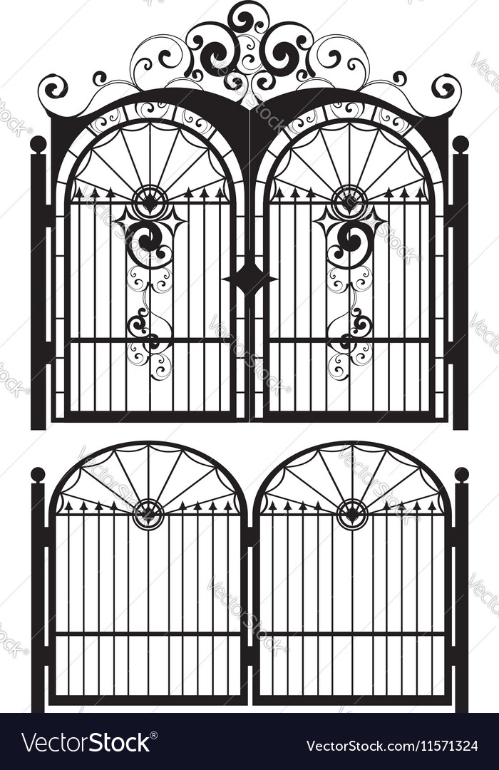 Iron gate silhouette3 vector