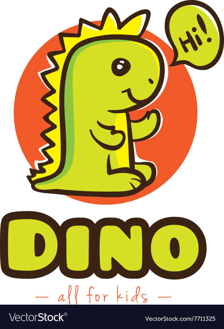 Funny cartoon dino logo baby dinosaur vector