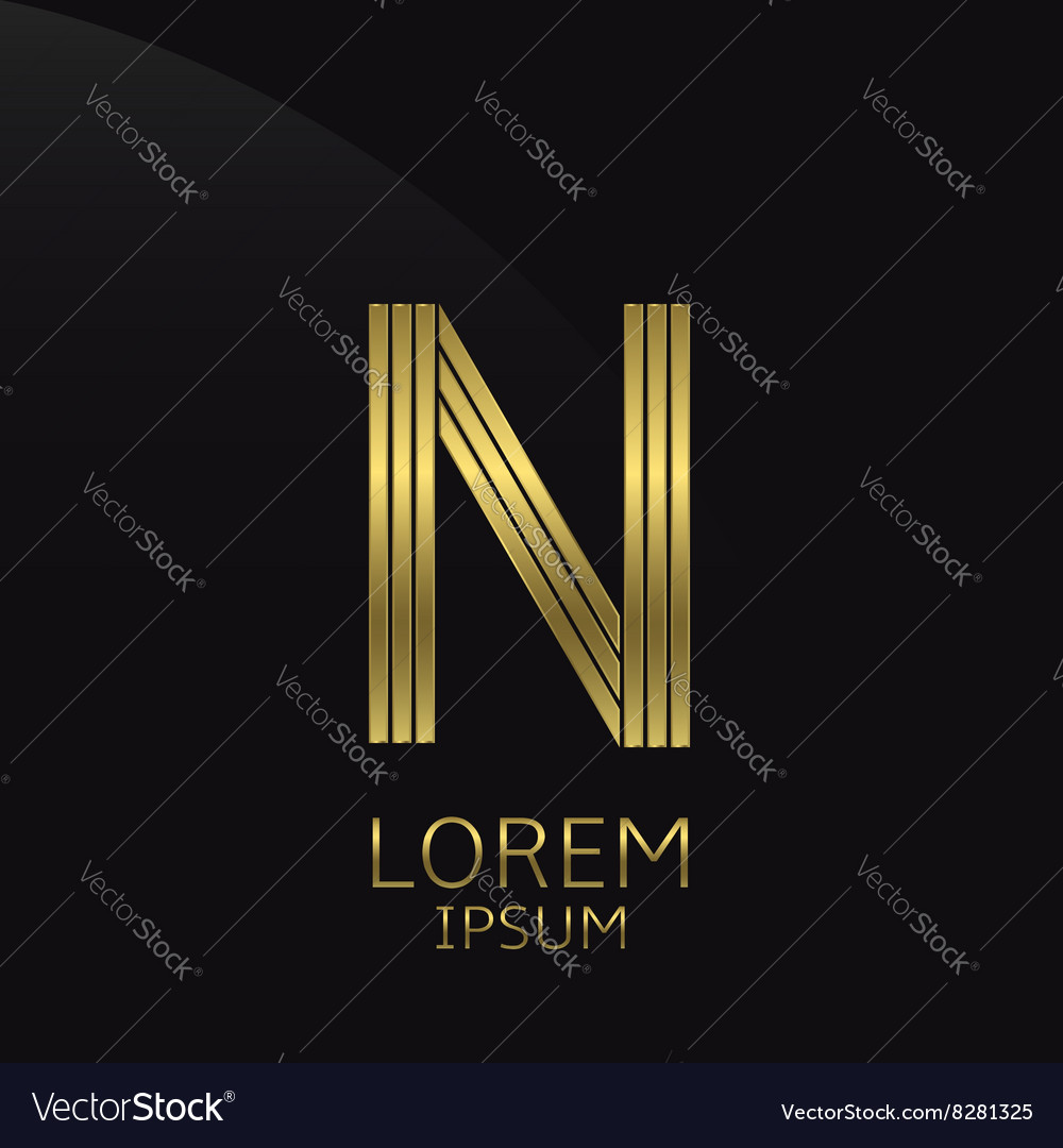Golden n letter vector