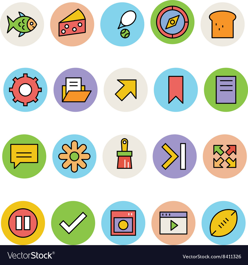 Basic colored icons 12 vector