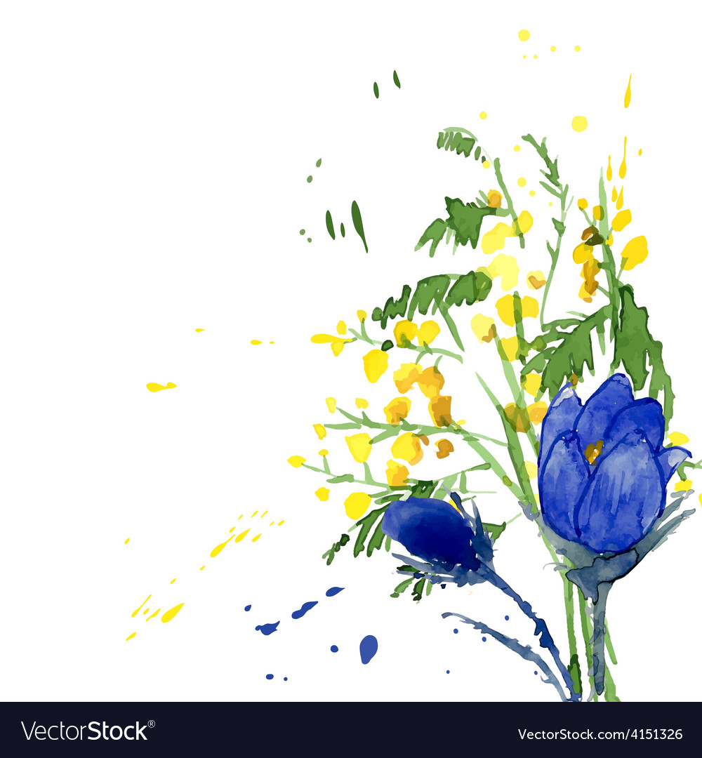 Watercolor style of snowdrops vector