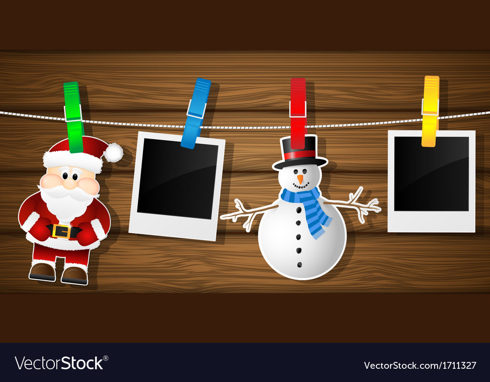 Blank photo frames snowman and santa on a vector