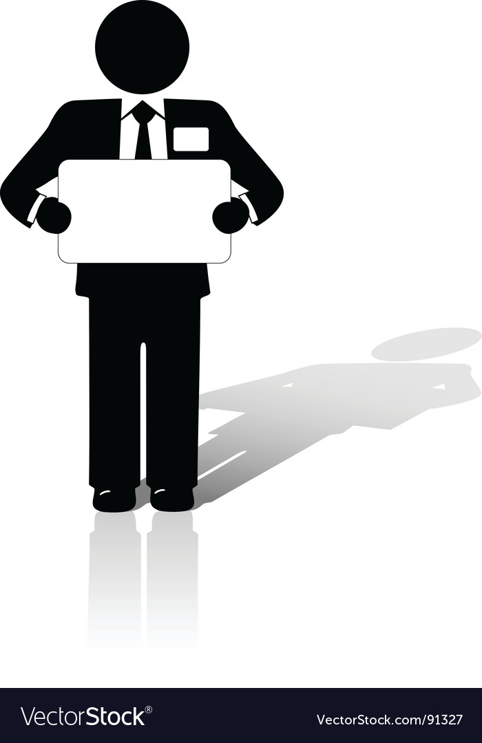 Business man holds blank sign vector