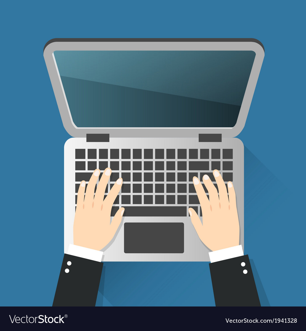 Business hands on notebook vector