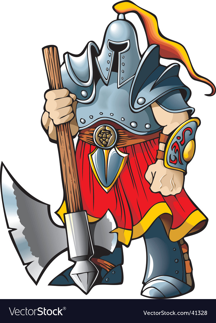 Knight with an axe vector