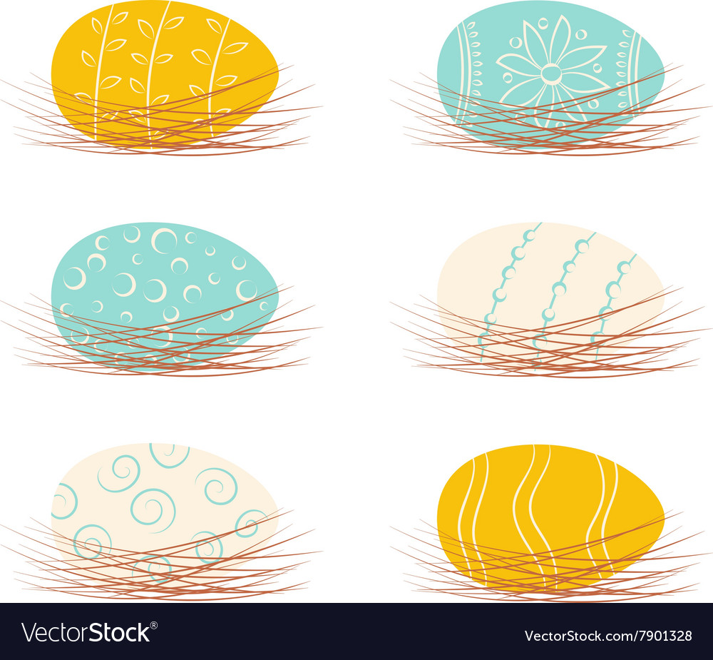 Set of easter eggs in nests vector