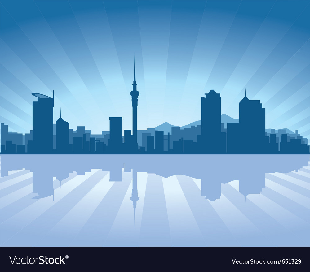 Auckland skyline with reflection in water vector