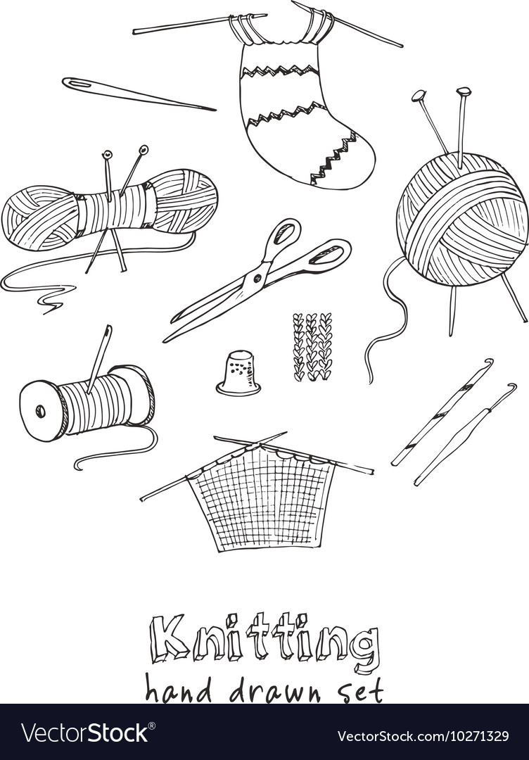 Craft icons for sewing knitting hobbies vector