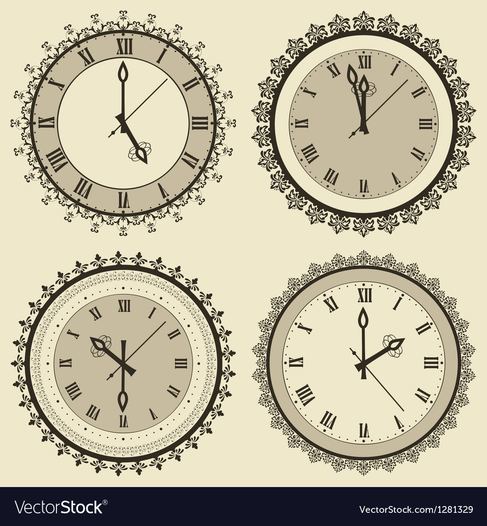 Vintage clock set vector