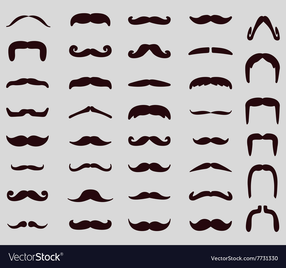 Moustache icon set vector