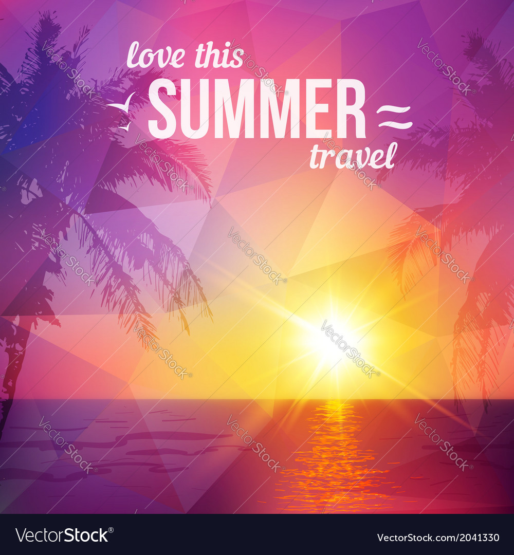 Purple triangles tropical sunset with palms vector
