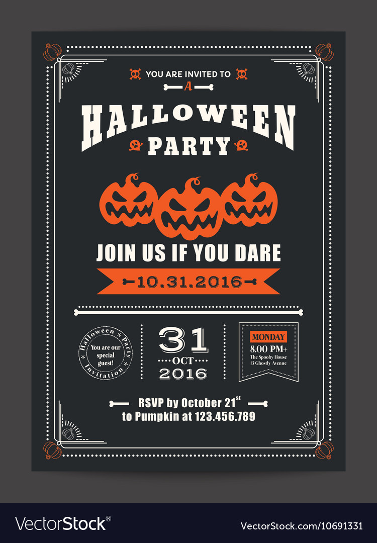 Halloween night party invitation card poster flyer vector