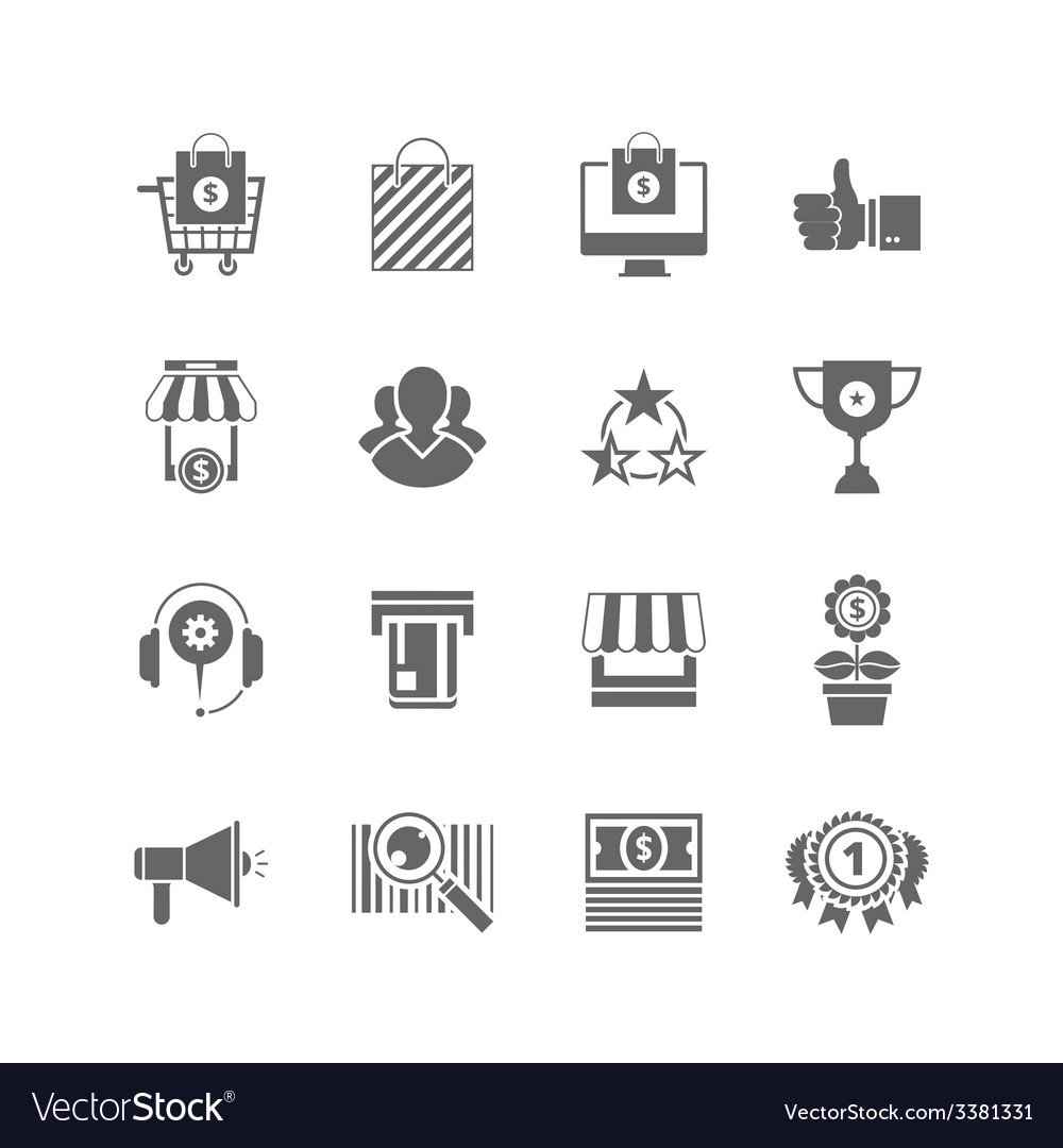 Shopping flat black icons set sihlouette vector