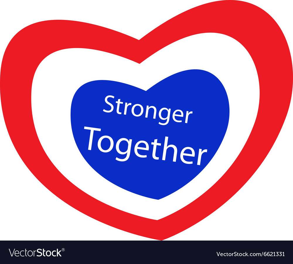 Stronger together with heart shape of stripe label vector